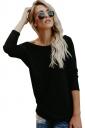 Womens Sexy Crew Neck Long Sleeve Plain Open Back T-Shirt Black
