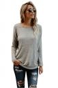 Womens Sexy Crew Neck Long Sleeve Plain Open Back T-Shirt Light Gray