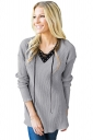 Womens V-Neck Lace Up Asymmetrical Hem Plain T-Shirt Gray