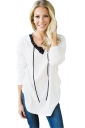 Womens V-Neck Lace Up Asymmetrical Hem Plain T-Shirt White