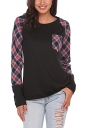 Womens Raglan Sleeve Pocket Plaid Pattern Crew Neck T-Shirt Black