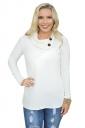 Womens Cowl Neck Button Side Slit Long Sleeve Plain T-Shirt White