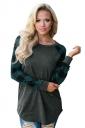 Womens Crew Neck Raglan Sleeve Plaid Pattern T-Shirt Green