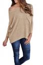 Womens One Shoulder Long Sleeve Oversized Ribbed Knit Sweater Khaki