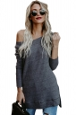 Womens Long Sleeve Off Shoulder Slit Ribbed Knit Plain Sweater Gray
