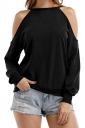 Womens Halter Cold Shoulder Long Sleeve Loose Plain T-Shirt Black