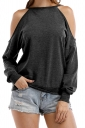Womens Halter Cold Shoulder Long Sleeve Loose Plain T-Shirt Gray