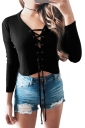 V-Neck Cross Lace Up Long Sleeve Crop Top Ribbed?Knit?Sweater Black