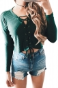 V-Neck Cross Lace Up Long Sleeve Crop Top Ribbed?Knit?Sweater Green
