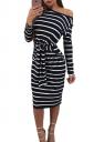 Womens One Shoulder Long Sleeve Cross Strip Midi Dress Black And White
