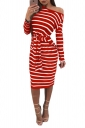 Womens One Shoulder Long Sleeve Cross Strip Bandage Midi Dress Red