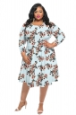 Womens Vintage Crew Neck Flower Printed Plus Size Dress Blue