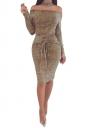 Elegant Off Shoulder Long Sleeve Bandage Waist Midi Pencil Dress Khaki