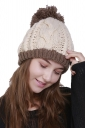 Warm Faux Fuzzy Fur Color Block Cable Knit Cuff Beanie Hat Beigh White