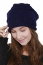 Womens Warm Outdodr Slouchy Cable Knit Skullies Beanie Hat Navy Blue