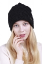 Womens Fashion Outdodr Slouchy Cable Knit Skullies Beanie Hat Black