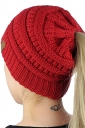 Womens Soft Ponytail Stretch Cable Messy High Bun Knit Beanie Hat Red