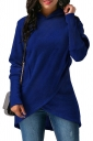 Womens Long Sleeve With Pocket Asymmetrical Hem Plain Hoodie Blue