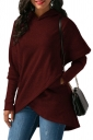 Womens Long Sleeve With Pocket Asymmetrical Hem Plain Hoodie Ruby