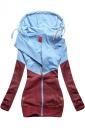 Womens Long Sleeve Kangaroo Pocket Color Block Zipper Coat Hoodie Ruby