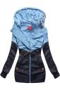 Womens Long Sleeve Kangaroo Pocket Color Block Zipper Hoodie Navy Blue