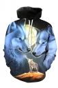 Womens Long Sleeve Kangaroo Pocket Wolf Printed Pullover Hoodie Gray