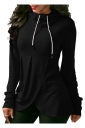 High Collar Drawstring Long Sleeve Asymmetrical Hem Plain Hoodie Black