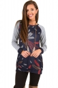Womens Crew Neck Raglan Sleeve Feather Printed Sweatshirt Navy Blue
