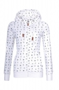 Womens Close-Fitting Drawstring Zipper Pocket Printed Hoodie White