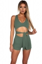 Womens Sexy Cut Out Waist Tie V-Neck Sleeveless Romper Army Green