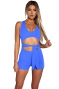 Womens Sexy Cut Out Waist Tie V-Neck Sleeveless Romper Light Blue