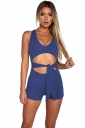 Womens Sexy Cut Out Waist Tie V-Neck Sleeveless Romper Sapphire Blue