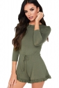 Womens Waist Tie 3/4 Length Sleeve Ruffle Cut Out Romper Army Green