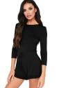 Womens Casual Waist Tie 3/4 Length Sleeve Ruffle Cut Out Romper Black
