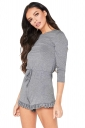 Womens Casual Waist Tie 3/4 Length Sleeve Ruffle Cut Out Romper Gray
