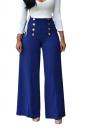 Women V-Neck Lace Up Top&High Waist Butoon Wide Legs Pants Suit Blue