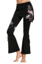 Womens Stylish Lace Up Eyelet Flower Printed Skinny Bell Pants Red