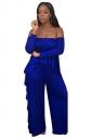 Womens Sexy Off Shoulder Top&Ruffled Hem Pants Suit Sapphire Blue