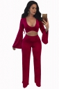 Womens Sexy Low Cut Bell Sleeve Crop Top&Leisure Pants Suit Ruby