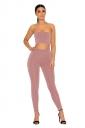 Womens Sexy Off Shoulder Sleeveless Crop Top&Leggings Plain Suit Pink