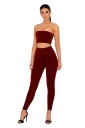 Womens Sexy Off Shoulder Sleeveless Crop Top&Leggings Plain Suit Red