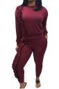 Womens Crew Neck Pocket Ruffled Hem Long Sleeve Plain Suit Ruby