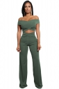 Womens Sexy Off Shoulder Bandage Cut Out Wide Leg Suit Army Green