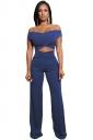 Womens Sexy Off Shoulder Bandage Cut Out Wide Leg Suit Sapphire Blue