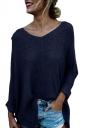 Womens V-Neck Oversized High-Low Slit Knit Plain Sweater Navy Blue