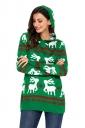 Womens Hooded Reindeer Snowflake Printed Ugly Christmas Sweater Green