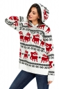 Womens Hooded Reindeer Snowflake Printed Ugly Christmas Sweater White