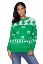 Womens Cute Snowflake Printed Crew Neck Ugly Christmas Sweater Green