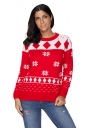 Womens Cute Snowflake Printed Crew Neck Ugly Christmas Sweater Red