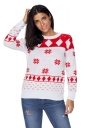 Womens Cute Snowflake Printed Crew Neck Ugly Christmas Sweater White